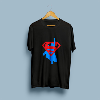 Uniq Superman Black Regular Fit Half Sleeve T-Shirt
