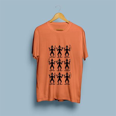 Uniq Tribal Orange Regular Fit Half Sleeve T-Shirt