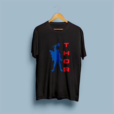 Uniq Thor Black Regular Fit Half Sleeve T-Shirt