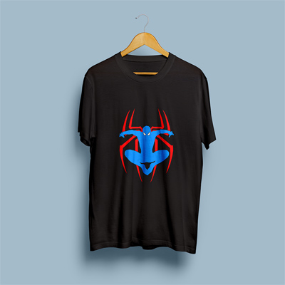 Uniq Spiderman Black Regular Fit Half Sleeve T-Shirt